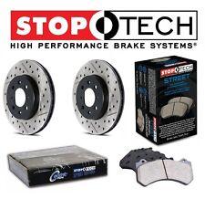 Honda Civic 2.0L Front StopTech Drilled Slotted Brake Rotors Street Pads Set Kit