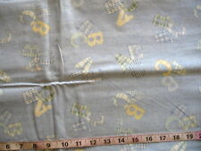 "3/4 yd Cotton Fabric ""Cody Quilt"" by Spring Ind. Denim Lt Blue with Abc's"