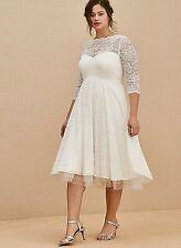 Torrid Size 20 Ivory Lace Tea-Length Wedding Dress