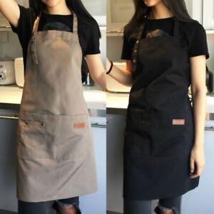 Women Adjustable Bib Apron Waterproof Two Pockets Kitchen Baking Cooking Pure