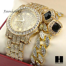 Hip Hop Iced Simulated Diamond Watch Cuban Bracelet & Onyx Black Earring Set