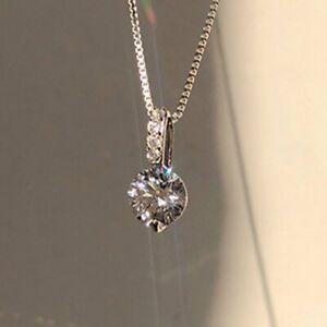 925 Silver Cubic Zirconia Crystal Pendant Necklace Choker Charm Wedding Women