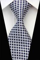 GIFTS FOR MEN Classic Diamond Checked Mens Silk Check Necktie Tie Navy Blue Grey
