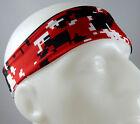 NEW! Super Soft Red Black White Digital Camo Headband Sports Running Workout