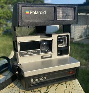 Vintage POLAROID SUN 600 LMS Folding Instant Camera w/Strap Tested Working