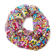 tokidoki Infinity Scarf Neon Star Owls Bright Colors Fancy Owl Allover Print NWT