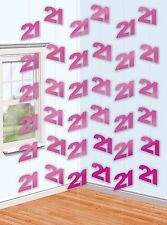 6 Pink Shimmer 21st Birthday 7ft String Decorations