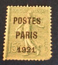 Preos N ° 28 15 C Vert Oblitéré Paris 21 ( Défaut) Cote 200€