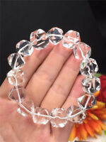 12mm Cut Faceted Natural Clear White Quartz Crystal Gems Beads Diamond Bracelet