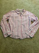 Maurices Junior Women's Pink Plaid Button-Down Top Large