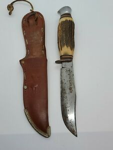 Vintage Edge Brand Solingen Germany 462 Fixed Blade Bowie Knife w/Leather Sheath