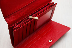 Red Womens Genuine Leather Wallet