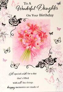 "Traditional Glittered Flower Bouquet & Verse ""DAUGHTER"" Birthday Card"