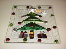 RIKARO HAND MADE ART GLASS  CHRISTMAS TREE SQUARE PLATE