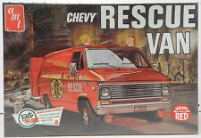 CHEVY VAN RESCUE RED STOCK POLICE CUSTOM FIRE DISCO NOS SEALED AMT MODEL KIT