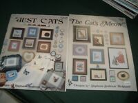 2 Vtg 80s Lot Stephanie Seabrook Just Cats & Meow Cross Stitch Charts #r145