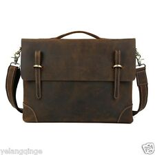 "Men Genuine Leather Briefcases Shoulder Messenger 14"" Laptop Bags Business Cases"