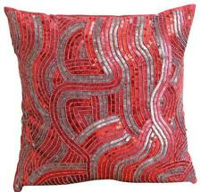 Silk Designer Accent Pillow Cover 12x12 inch Red, Sequins Bead - Red Love