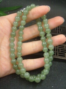 Antique Chinese Nephrite Celadon-HETIAN-OLD Jade 6mm BEAD Statue/Pendant QING D