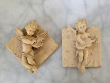 Set Cherub Tile Relief Wall Plaque Angel Victorian Reclaimed Instruments Tuscan