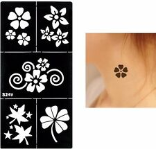 Henna Flowers Leafs Rose Arm Hands Stencils Templates Body Art Painting Black