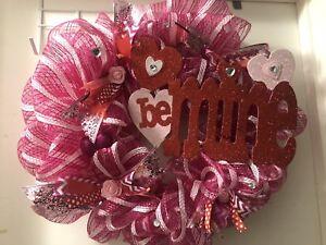 Valentine's Day Wreath. Handmade Large Deco-mesh Wreath