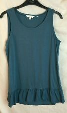 FAT FACE - Sleeveless TOP- Size 8 - Green Teal - Cotton Jersey Modal -vest tunic