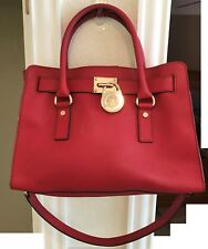 Michael Kors Hamilton EW East West Medium Red Saffiano Leather Satchel EUC