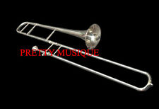 TROMBONE SLIDE SILVER CHROME POLISH +OF PURE BRASS MADE +CASE +MOUTHPC+FREE SHIP