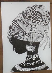 Unsigned modernist b/w pen & ink drawing of an African lady (profile),excellent