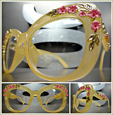 OVERSIZED VINTAGE RETRO Style Clear Lens EYE GLASSES Nude Frame Gold Pink Floral