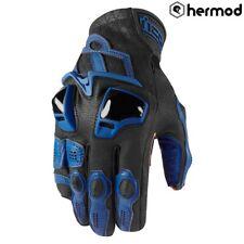 Icon Hypersport Short Leather Motorbike Motorcycle Gloves - Blue