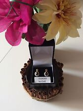 @NEW@ 9ct Gold Real Natural Dark Sapphire & Diamond Studded Earrings
