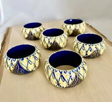 Vintage Set Of 6 Dark Blue / Cream Hand Painted Lacquer Napkin Holders Rings