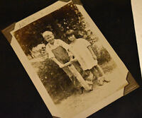 old picture boy homemade scooter TOY christmas seal LEATHER ALBUM family 1940
