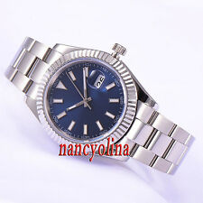 Parnis 40mm Polished case Blue dial sapphire glass automatic date men watch P522