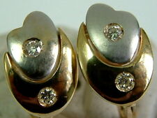 SOLID 18CT YELLOW WHITE GOLD SMALL CHUNKY EARRINGS WITH DIAMONDS