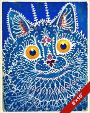 BLUE KITTY WITH BIG YELLOW EYES LOUIS WAIN PAINTING CAT ART REAL CANVAS PRINT