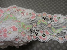 """3"""" Wide PINK and GREEN Floral  Textured Stretch Lace  - 2 yards"""