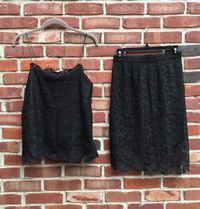PAMELA DENNIS New York Black Lace Suit LEMONS Set Skirt Tank Sz XS S Small $975