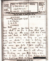 WW2 1942 AIRGRAPH from C.M.POLICE, CYPRUS - UK. Stephens ME/14d - RARE