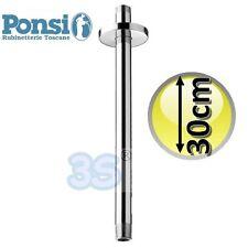 3S BRACCIO DOCCIA VERTICALE 20 o 30 cm A SOFFITTO in OTTONE CROMATO per SOFFIONE