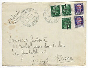 Italy Sociale 1944 March Zocca express letter to Roma 1.c.74