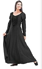 Holy Clothing Kalila Puff Sleeve Lace-Up Renaissance Peasant Corset Dress Large