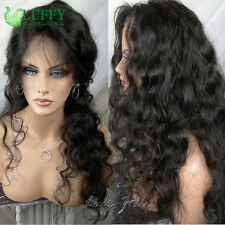 LUFFY Pre Plucked Deep Loose Wave Full Lace Wigs Peruvian Virgin Human Hair Wigs
