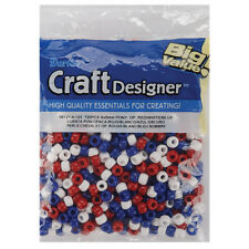 Darice Pony Beads Red and White and Blue 6mm X 9mm