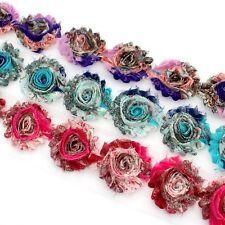 10 Shabby Chiffon pattern flower trim blue/pink/purple - millinery, hair, craft