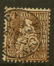 SWITZERLAND:1862 Sitting Helvetia 60c copper-bronze SG 59 used