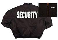 Black Security MA-1 Flight Jacket W/ Reversible Orange Side - Winter Jacket Coat