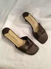 EUC Expressions Women's Dress Slide Sandals Size 6.5 Color Brown Snakeskin